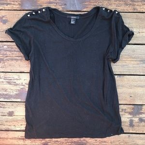 Black Tee With Gold Spiked Shoulders